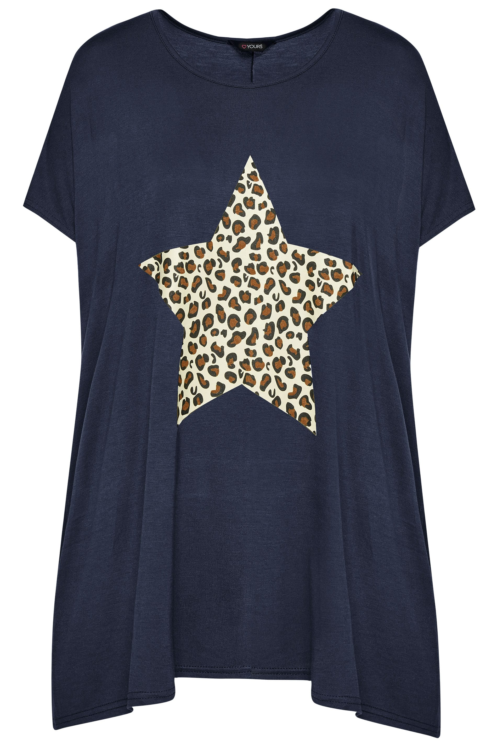 bc3f6ca68871 Navy Leopard Star Print T-Shirt | Sizes 16-40 | Yours Clothing
