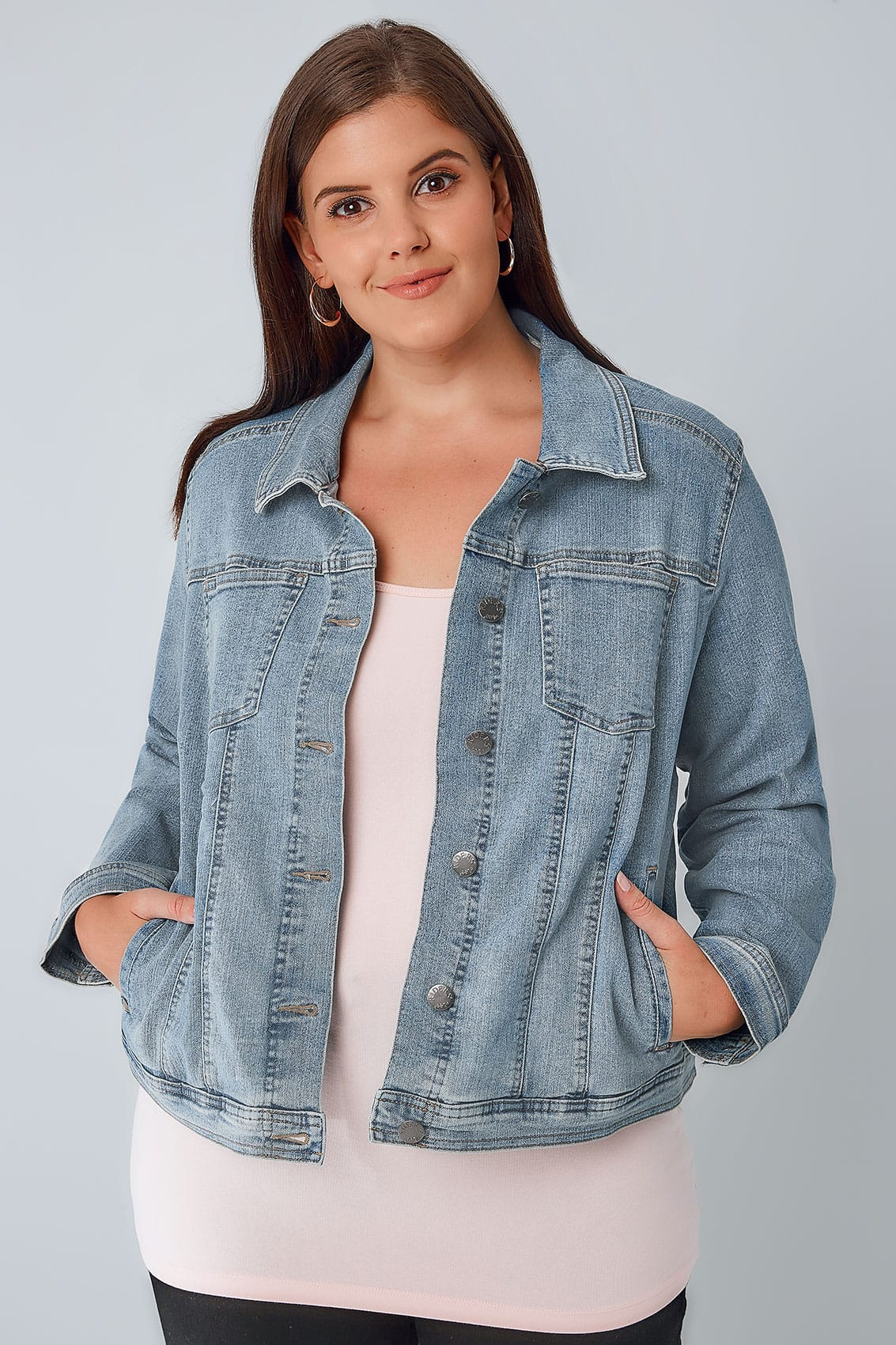Plus Size Light Wash Denim Jacket