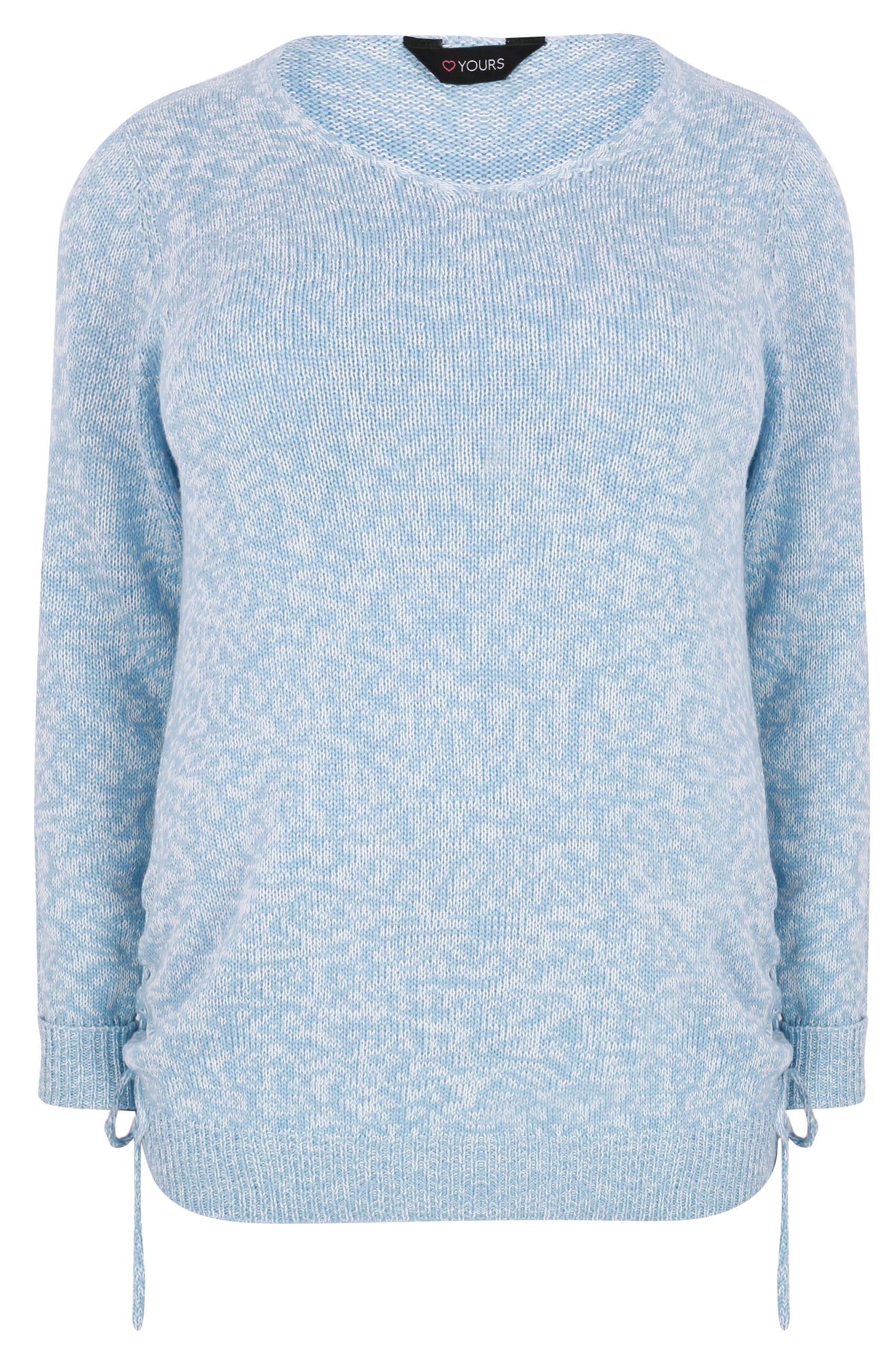 Light Blue Knitted V-Neck Jumper With Lace Up Sides, Plus ...