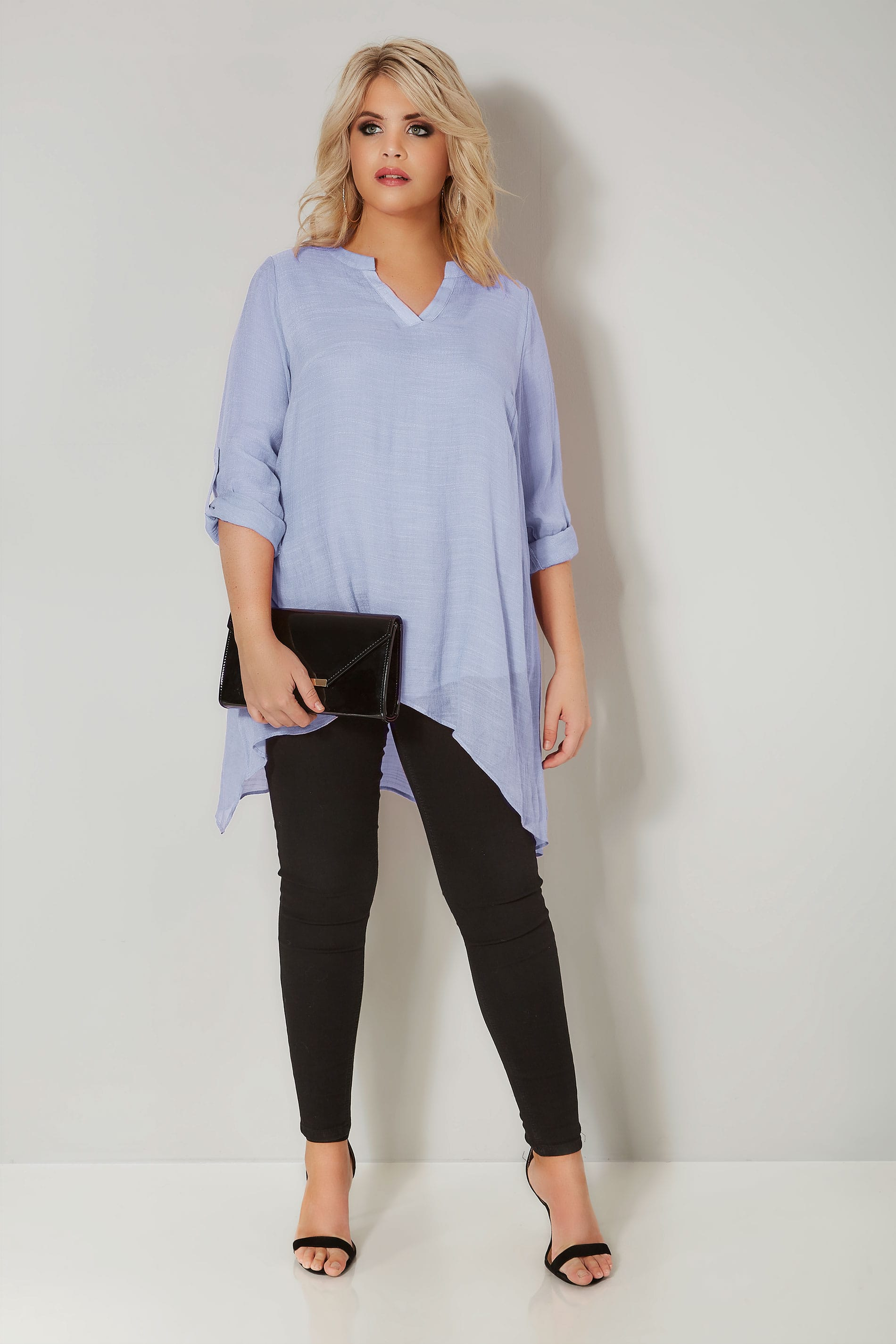 Light Blue Layered Blouse With Notch Neck Amp Dipped Hem