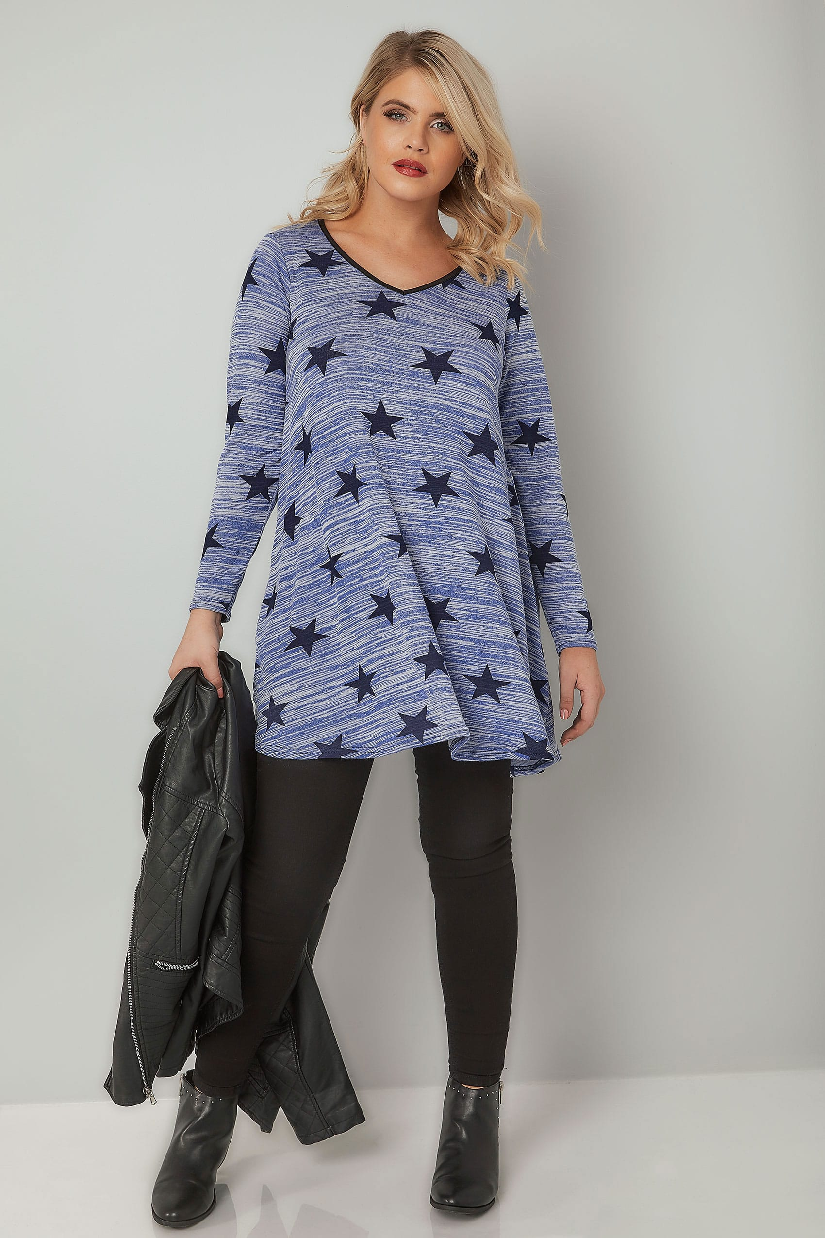 Light Blue Star Print Longline Swing Top, Plus Size 16 To 36