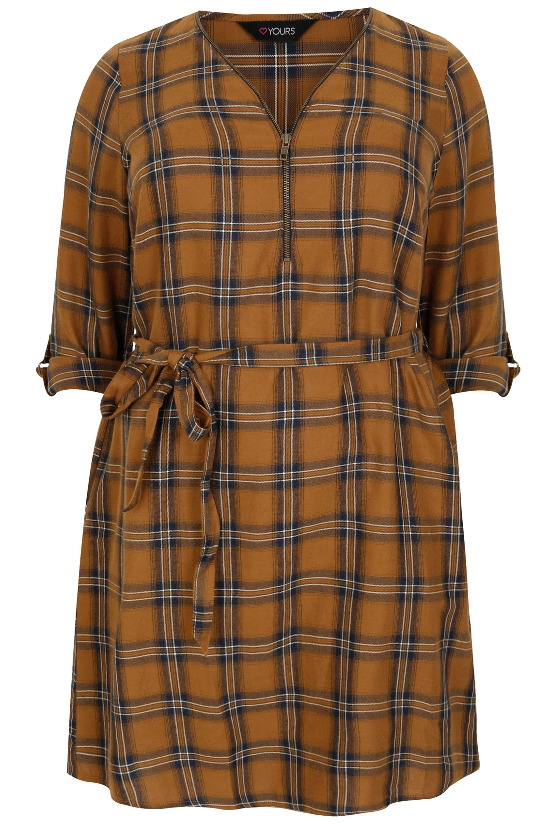 Light brown navy check zip front tunic shirt dress plus for Zip up dress shirt