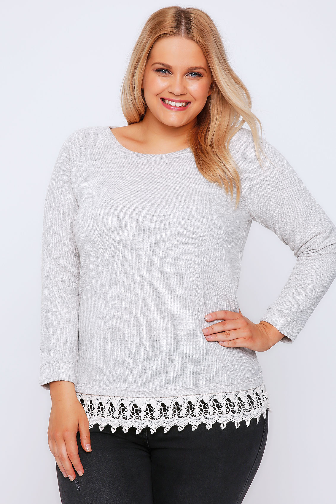 light grey sweat top with cream crochet hem plus size 16 to 32. Black Bedroom Furniture Sets. Home Design Ideas