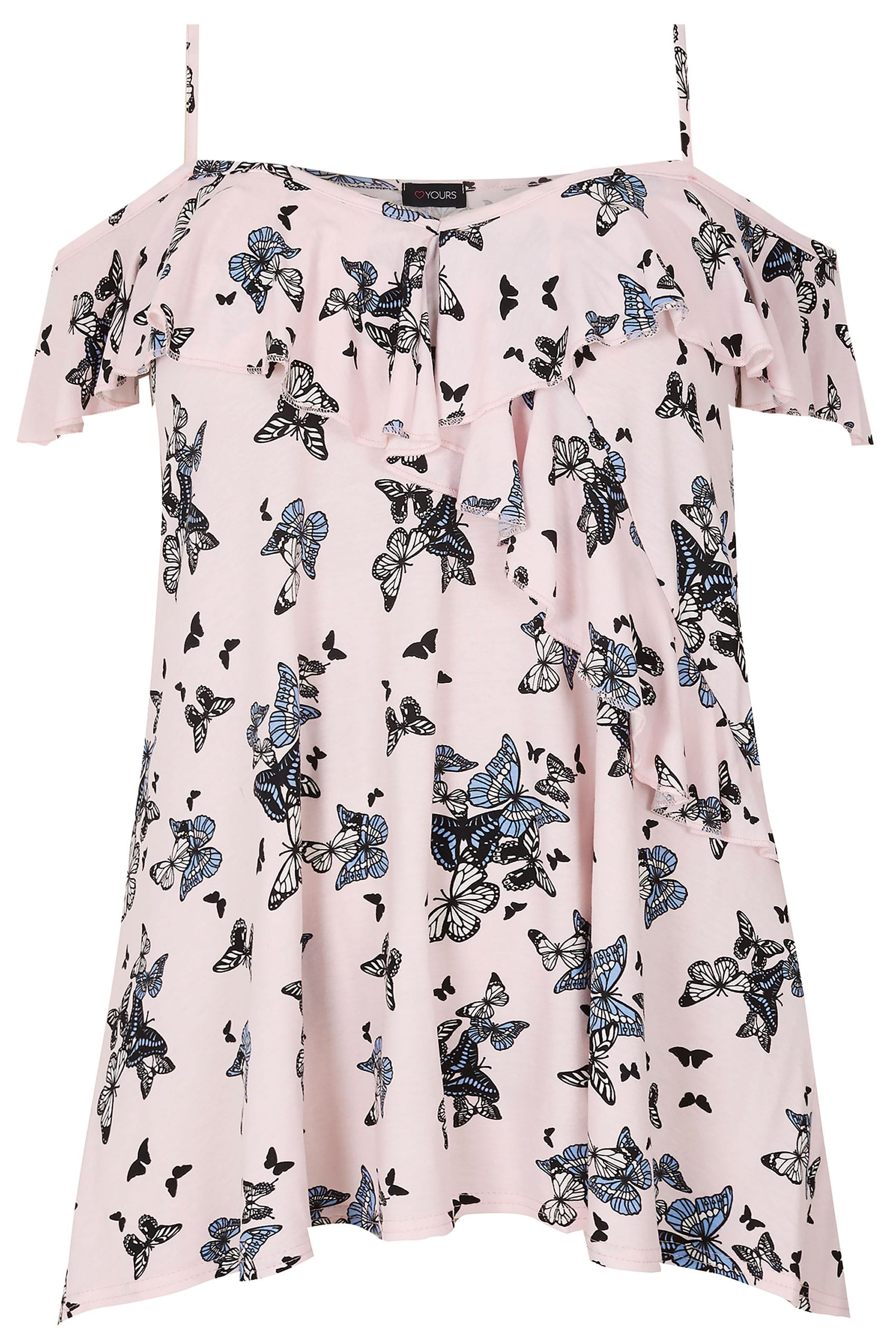 837c8497666075 Light Pink Butterfly Print Frill Cold Shoulder Top