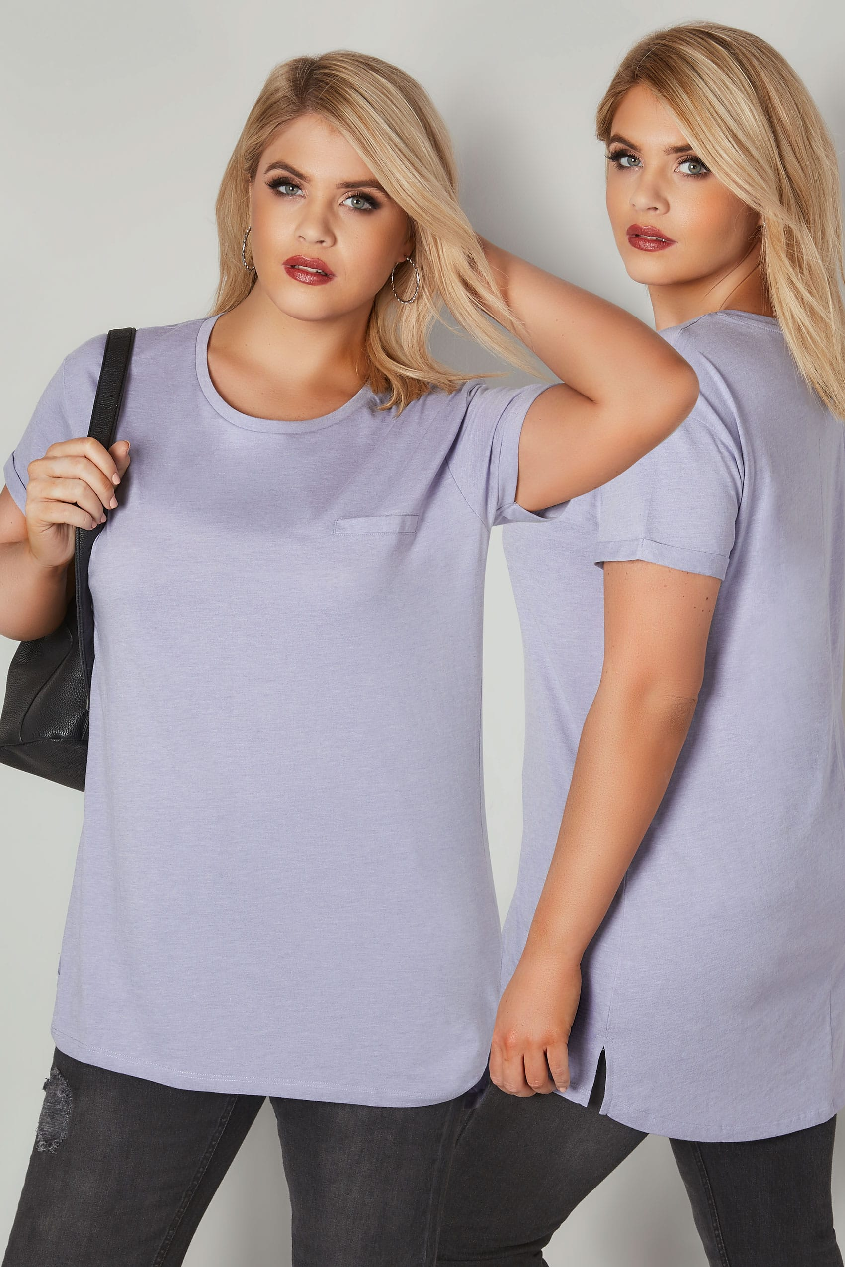 lilac pocket t shirt with curved hem plus size 16 to 36. Black Bedroom Furniture Sets. Home Design Ideas