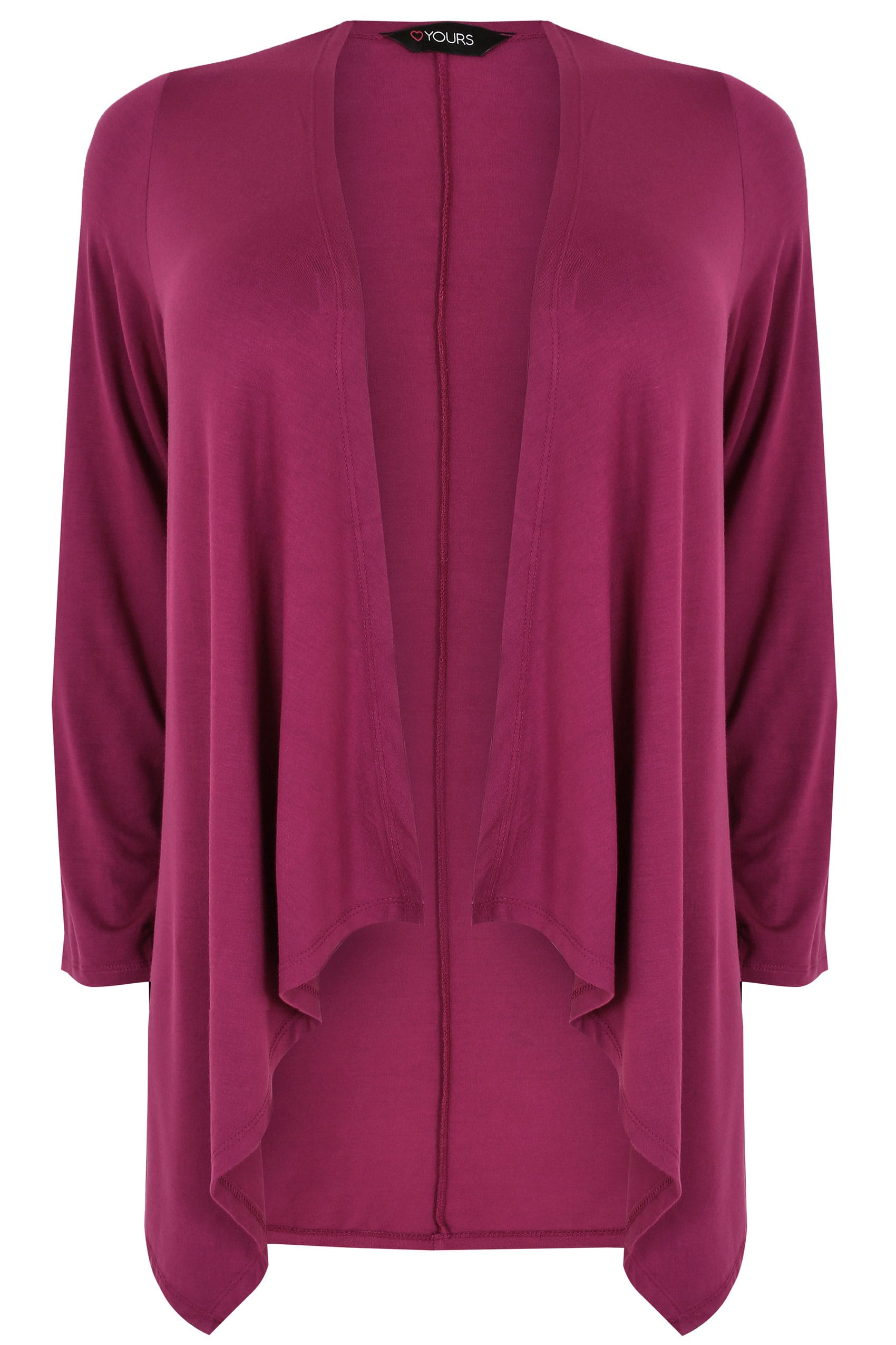 Magenta Pink Edge To Edge Waterfall Jersey Cardigan, Plus size 16 ...