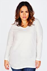 White Long Sleeve V-Neck Plain T-Shirt
