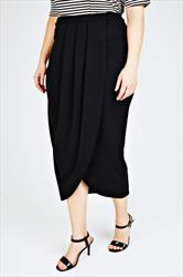 Black Textured Wrap Front Maxi Skirt With Pleat Detail