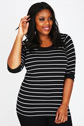 Black & White 3/4 Sleeve Deep Band Stripe Tee