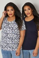 2 PACK Navy Butterfly Printed & Plain T-Shirts