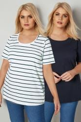 2 PACK Navy & White Stripe & Plain T-Shirt