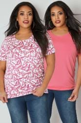 2 PACK Pink Butterfly Printed & Plain T-Shirts