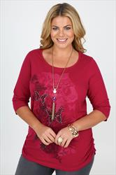 Deep Pink Butterfly Print 3/4 Sleeve T-shirt With Ruching Detail
