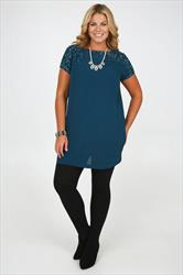 Teal Crepe Tunic Dress With Sequin Embellishment