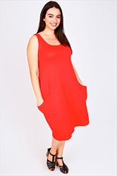 Bright Orange Sleeveless Jersey Dress with Dropped Pockets