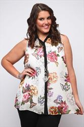 Multi Floral Chiffon Sleeveless Blouse With Black Trim