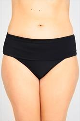 Black Fold Over Waist Bikini Brief