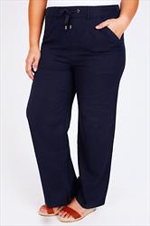Navy Linen Mix Full Length Trousers With Four Pockets