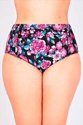 Pink Floral Print High Waisted Bikini Bottoms
