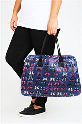 Multi-coloured Butterfly Printed Large Weekend Bag