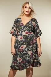 AX PARIS CURVE Black Floral Ruffle Dress
