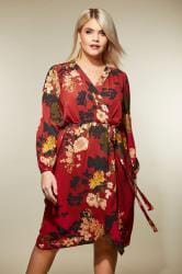 AX PARIS CURVE Red Floral Wrap Dress