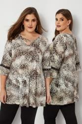 Animal Print Lattice Front Top With Eyelet Flute Sleeves