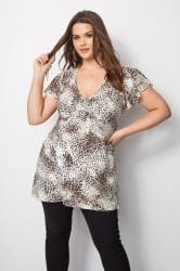 Animal Print Top With Tie Back