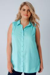 Aqua Sleeveless Dobby Blouse