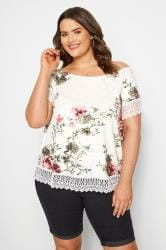White & Pink Floral Lace T-Shirt