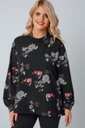 BLUE VANILLA CURVE Black & Multi Floral Print High Neck Top