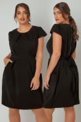 BLUE VANILLA CURVE Black Shift Dress With Pockets