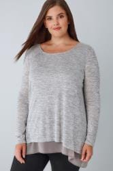 BLUE VANILLA CURVE Grey Marl Scoop Neck Top With A Chiffon Hem