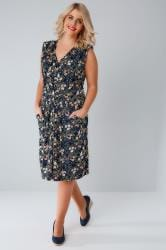 BLUE VANILLA CURVE Navy & Pink Floral Midi Pocket Dress With Pleat Detail