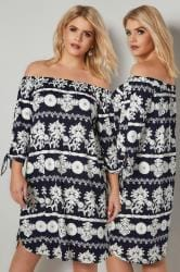 BLUE VANILLA CURVE Navy & White Floral Print Bardot Tunic Dress With Tie Sleeves