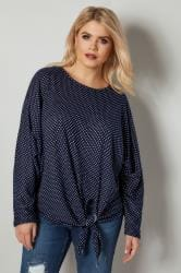 BLUE VANILLA CURVE Navy & White Polka Dot Knot Top