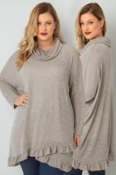 BLUE VANILLA CURVE Oatmeal  Roll Neck Cape Jumper With Layered Frilled Hem