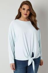 BLUE VANILLA CURVE Pale Blue Plisse Knot Top
