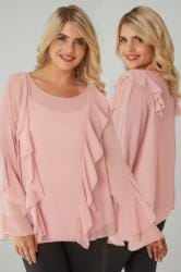 BLUE VANILLA CURVE Pink Frill Blouse With Flute Sleeves
