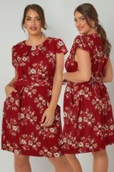 BLUE VANILLA CURVE Red Floral Print Dress With Pockets
