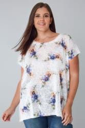 BLUE VANILLA CURVE White, Blue & Yellow Floral Oversized Top