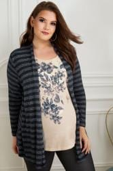 BUMP IT UP MATERNITY Zwart-grijs 2-in-1 gestreept vest