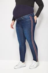 BUMP IT UP MATERNITY Blue Super Stretch Denim Jeans With Sport Stripes