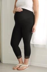 BUMP IT UP MATERNITY Black Cotton Essential Cropped Leggings With Lace Trim
