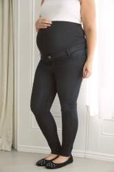 BUMP IT UP MATERNITY Black Super Stretch Skinny Jeggings With Comfort Panel