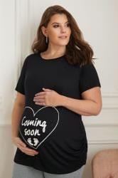 BUMP IT UP MATERNITY Black Top With White Glitter 'Coming Soon' Print