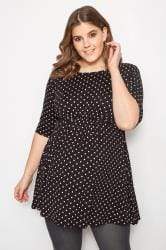 BUMP IT UP MATERNITY Black & White Polka Dot Swing Top