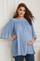 BUMP IT UP MATERNITY Blue Embroidered Smock Neck Plisse Top