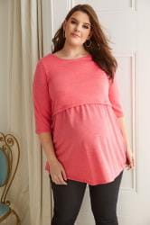BUMP IT UP MATERNITY Koraalkleurig voedingsshirt