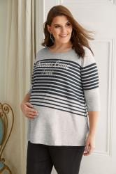 "BUMP IT UP MATERNITY - Top Gris à Rayures Bleues ""Dreams Come True"" Spécial Allaitement"